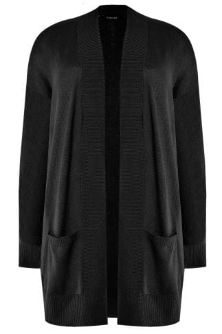 Black Fine Knit Edge To Edge Rib Trim Cardigan With Pockets