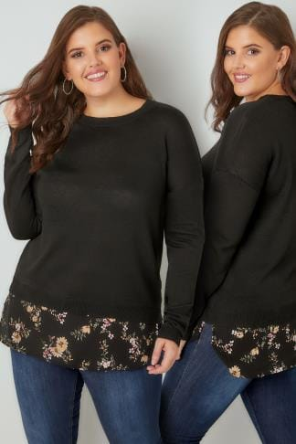 Jumpers Black Fine Knit 2 in 1 Layered Jumper With Floral Print Woven Hem 124125