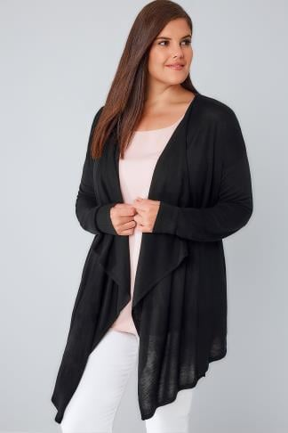 Black Fine Knit Waterfall Cardigan 124020