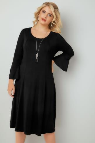 Noires Black Fit & Flare Jersey Dress With Flute Sleeves 136058