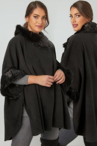 Wraps & Capes Black Fleece Wrap With Faux Fur Trims 120083