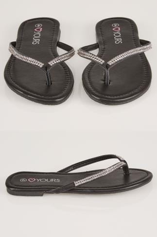 Pumps in weiter Passform Black Flip Flop With Diamante Trim In TRUE EEE Fit 154010