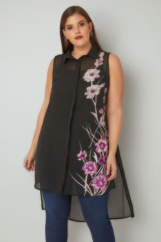 Blouses & Shirts Black Floral Bead Embellished Longline Shirt With Dipped Hem 130165
