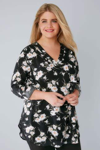Black Floral Daisy V-Neck Blouse With Roll Up Sleeves & Pocket Detail 156129