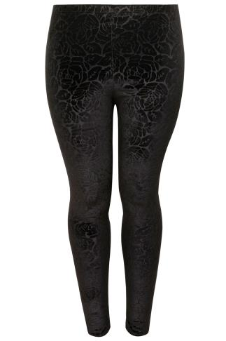Black Floral Embossed Velour Leggings
