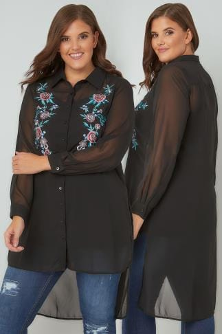 Blouses & Shirts YOURS LONDON Black Floral Embroidered Sheer Longline Shirt With Step Hem 156252