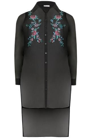 Black Floral Embroidered Chiffon Sheer Longline Shirt With Step Hem