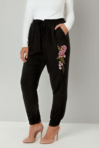 Joggers Black Floral Embroidered Cuffed Harem Jogger Trousers 142087