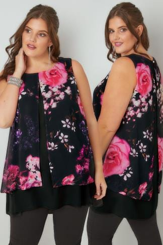 Longline Tops Black Floral Print Longline Layered Top With Curved Hem 130201