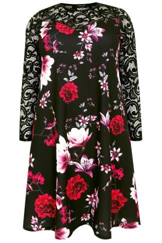 Black & Multi Floral Swing Dress With Lace Yoke & Sleeves