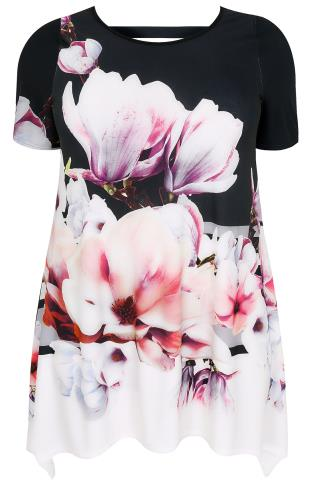 Black Floral Print Slinky Jersey Top With Hanky Hem