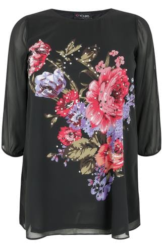 Black Floral Print Woven Top With Diamante Detail