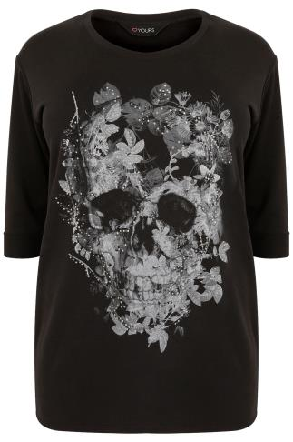 Black Floral Skull Print Jersey Top With Diamante Detail