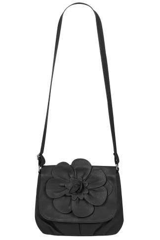 Bags & Purses Black Flower Shoulder Bag With Adjustable Strap 152209
