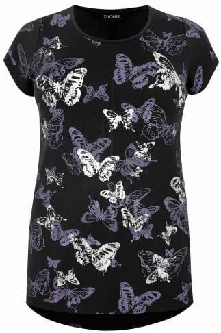 Black Butterfly Print T-Shirt With Foil Detail