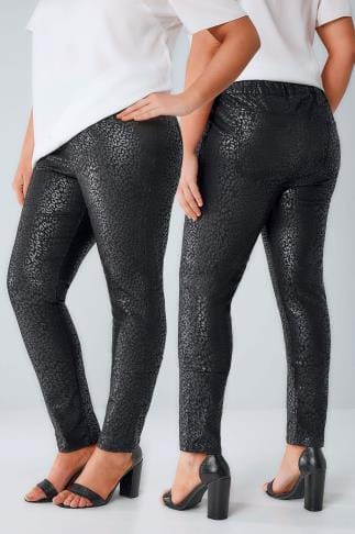Jeggings Black Foil Leopard Print Jeggings 101710