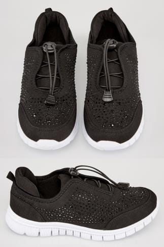 Wide Fit Trainers Black COMFORT INSOLE Gem Embellished Trainers In EEE Fit 154035