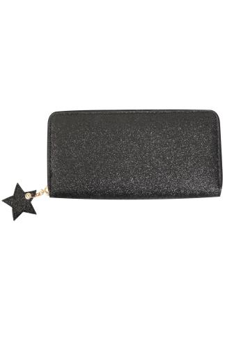Black Glitter Purse With Star Zip