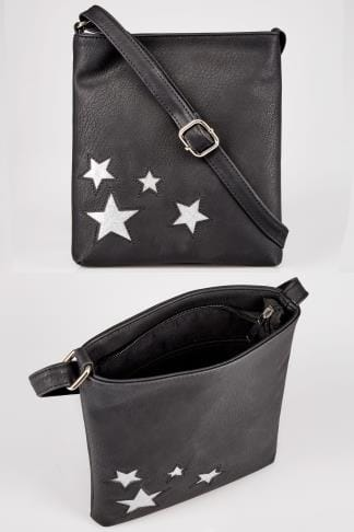 Black Glitter Star Patterned Cross Body Bag