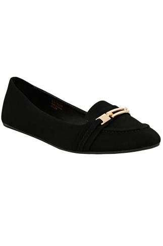 Black & Gold Bar Detail Flat Pumps In E Fit