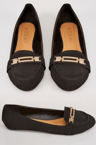 Wide Fit Flat Shoes Black & Gold COMFORT INSOLE Bar Detail Flat Pumps In E Fit 101694