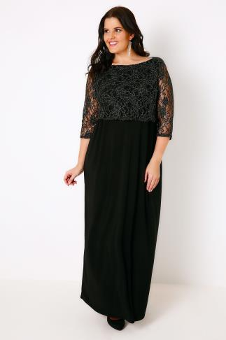 Black & Gold Maxi Lace Overlay Dress With Long Sleeves 103351