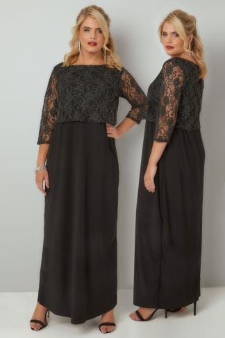 Black Dresses YOURS LONDON Black & Gold Maxi Lace Overlay Dress With Long Sleeves 103351