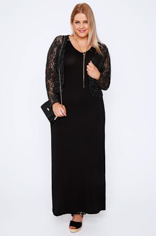 Black & Gold Metallic Lace Shrug 100604