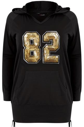 "Black & Gold Sequin ""82"" Hoodie With Ruched Sides"