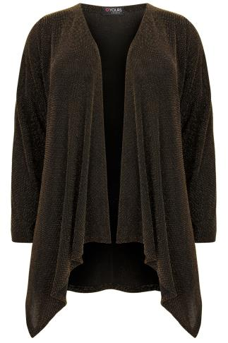 Black & Gold Sparkle Waterfall Cardigan