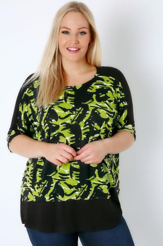 Jersey Tops Black & Green Camo Print Colour Block Top 170079