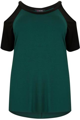 Black & Green Cold Shoulder Top With Contrast Raglan Sleeves