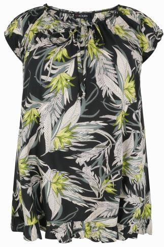 Black & Green Palm Print Gypsy Top With Frill Hem
