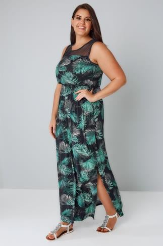 Maxi Dresses Black & Green Palm Print Maxi Dress With Mesh Yoke 136105