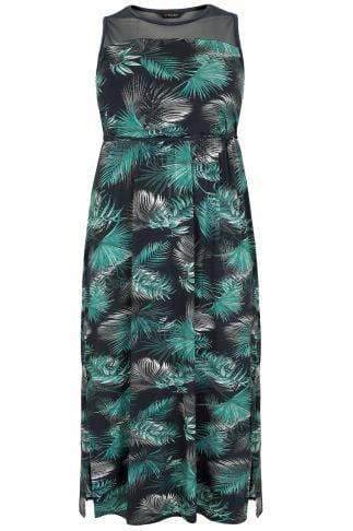 Black & Green Palm Print Maxi Dress With Mesh Yoke