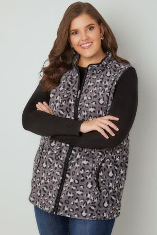 Gilets Black & Grey Animal Print Fleece Gilet 126039