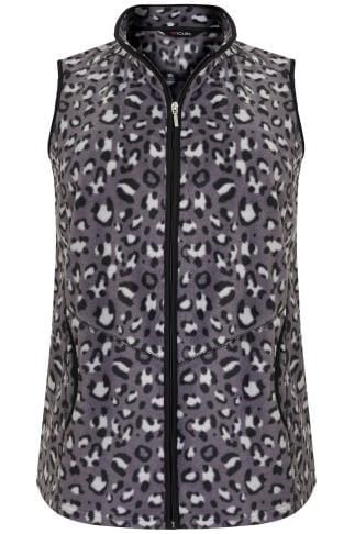 Westen Black & Grey Animal Print Fleece Gilet 126039