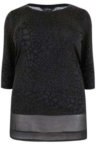 Black & Grey Animal Print Jersey Top With Chiffon Step Hem