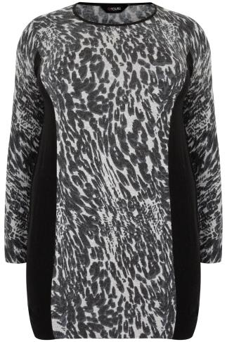 Black & Grey Longline Knitted Jumper In Animal Print