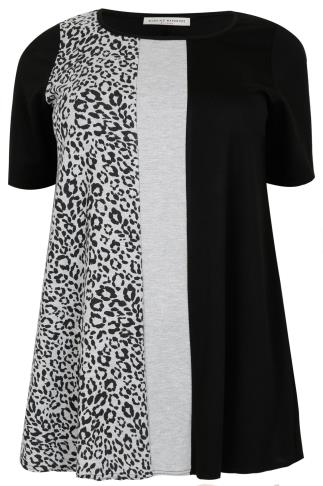 Black & Grey Animal Print Panelled Longline Top