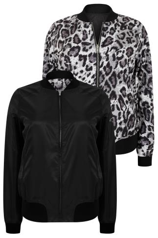 Black & Grey Animal Print Reversible Bomber Jacket