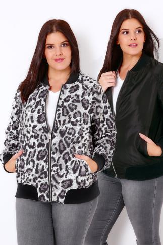 Black & Grey Animal Print Reversible Bomber Jacket 102878