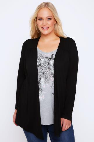 2 In 1 Tops Black & Grey Butterfly & Floral Print 2 In 1 Top/Cardi With Long Sleeves 102629