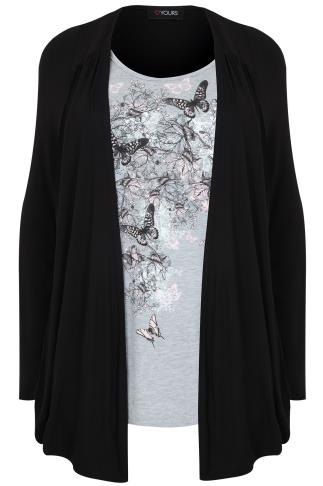 Black & Grey Butterfly & Floral Print 2 In 1 Top/Cardi With Long Sleeves