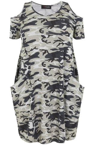 Black & Grey Camo Print Drape Pocket Dress With Cold Shoulders