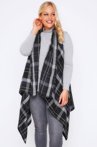 Black & Grey Check Sleeveless Wrap