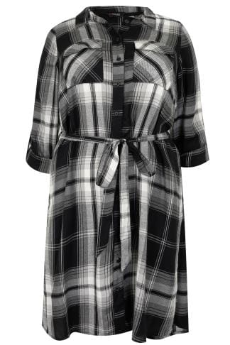 Black & Grey Checked Longline Shirt With Tie Waist
