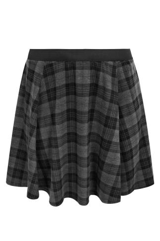 Black & Grey Checked Print Jersey Skater Skirt