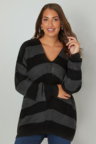 Jumpers Black & Grey Chevron Striped Longline Jumper With Curved Hem 124049