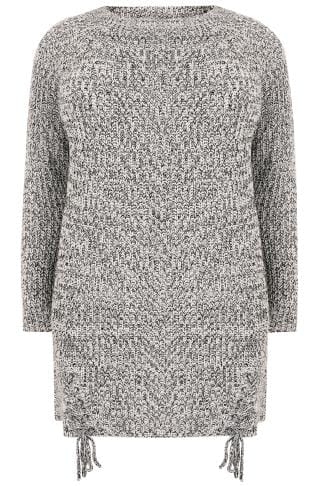 Black & Grey Chunky Knit Longline Jumper With Lace-Up Hem